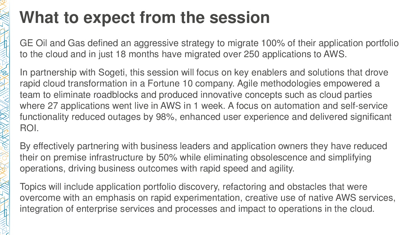 AWSReInvent-Manufacture-Acceleration-of-AWS-Enterprise-Adoption-in-GE-Migrating-at-Scale-002